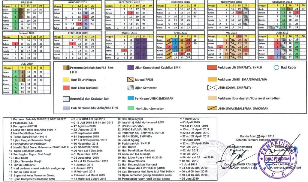 Kalender Pendidikan Tahun Ajaran 2018 2019 Provinsi Aceh