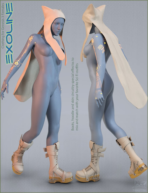 Exoline Boots and Accessories for Genesis 3 Female