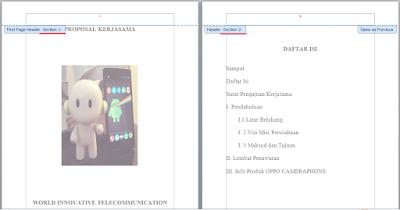 Cara Print Hasil Section Breaks Next Page (Penomoran) di Word