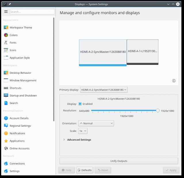 Configuração de Tela do KDE