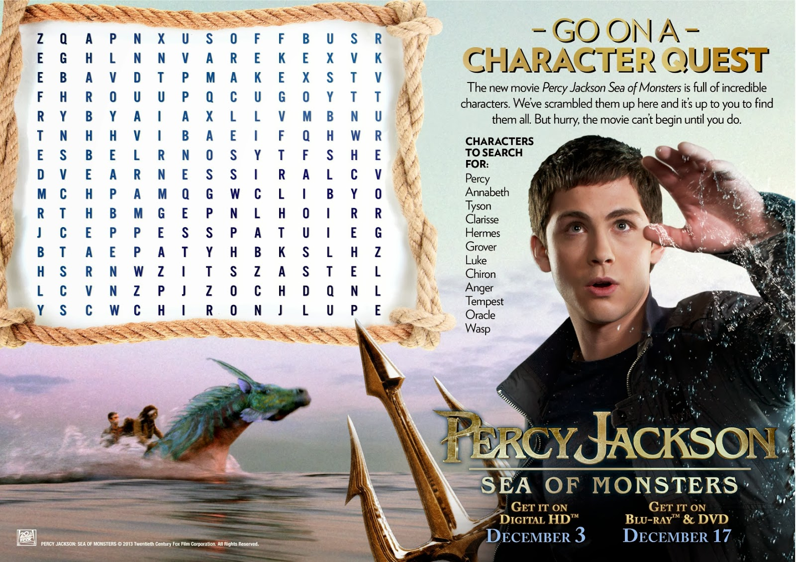 Alas 3 Lads Percy Jackson Sea Of Monsters Blu Ray Giveaway