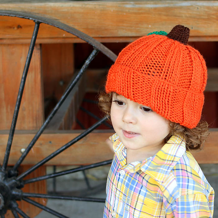 Toddler & Kids Pumpkin Hat Free Knitting Pattern