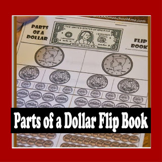 parts of a dollar flip book, math game
