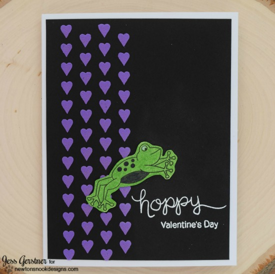 Hoppy Valentines Day Frog card by Jess Gerstner | Hoppy Days stamp set by Newton's Nook Designs #newtonsnook