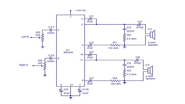 power ampli stereo BA5406