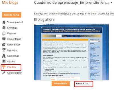 Editar HTML plantilla