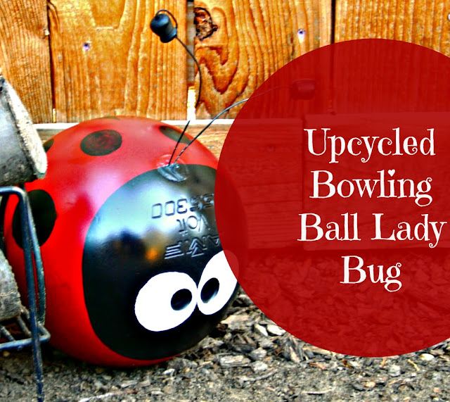 Up-cycled bowling ball lady bug
