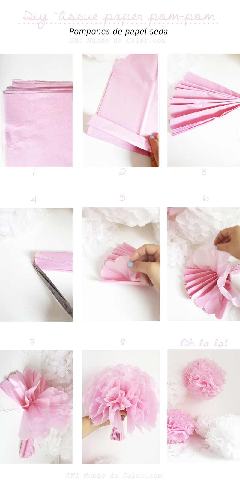 diy tissue paper pom pom deco party