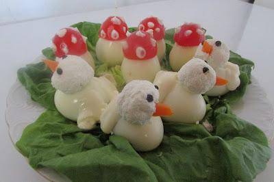 kaczki i grzybki z jajek