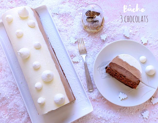buche noel trois chocolats