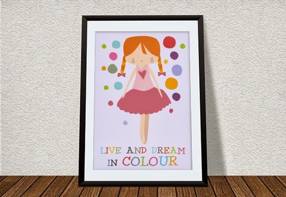 póster decoración habitación niñas colores