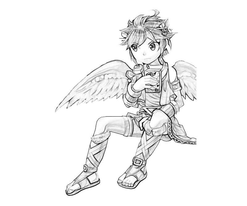 dark angel coloring pages kid icarus dark pit angel mario