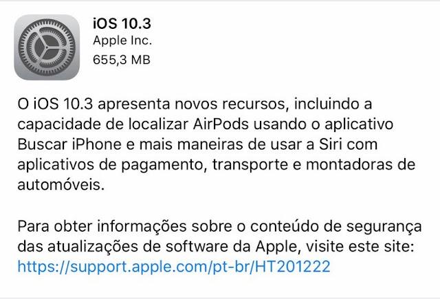 Nova atualização dos sistemas operacionais da Apple já está disponível