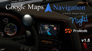 ets 2 google maps navigation night version for promods v1.8