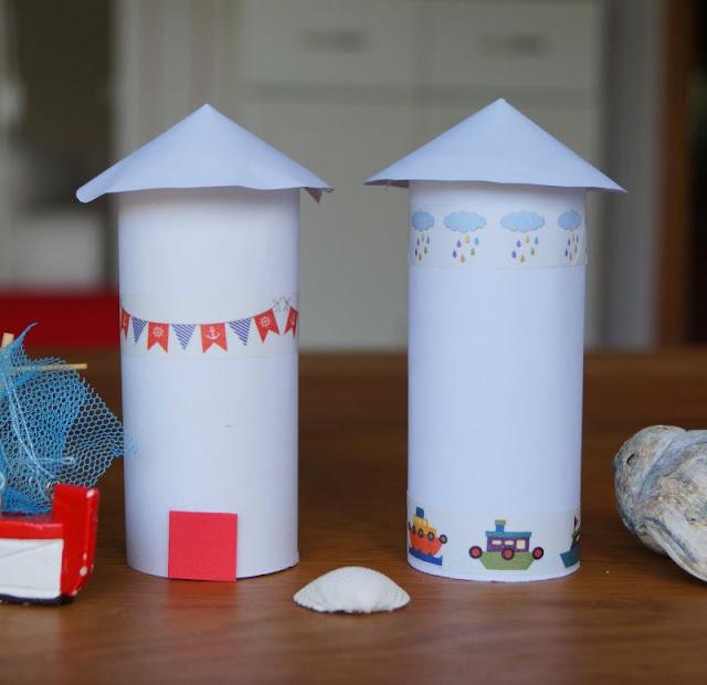 DIY: Kinderleicht Leuchttürme aus Klorollen basteln! So ein Leuchtturm mit Masking Tape verziert sieht schön aus und ist einfach zu basteln, auch mit kleinen Kindern!