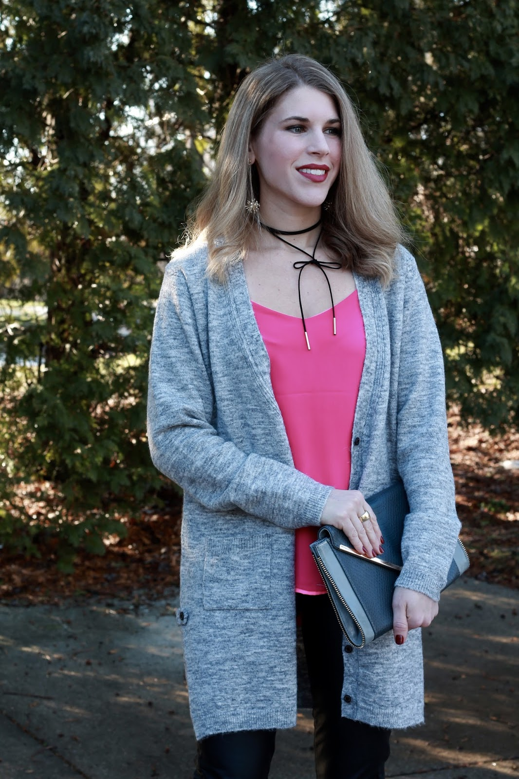 pink Barcelona cami, grey boyfriend cardigan, leather pants, pink heels, grey clutch, Valentine's Day look