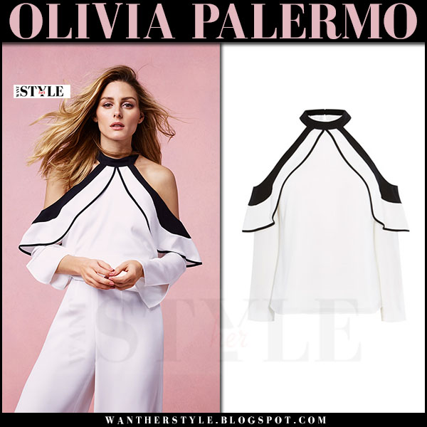 Olivia Palermo in white cold shoulder top and white pants Coast SS17 what she wore