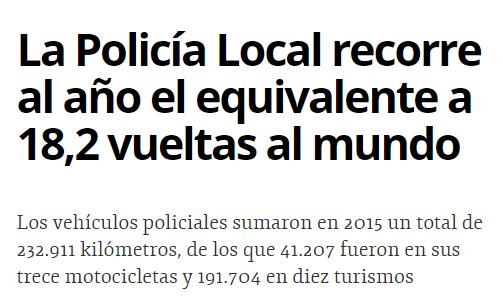 La Policía local recorre al año el equivalente a 18,2 vueltas al mundo