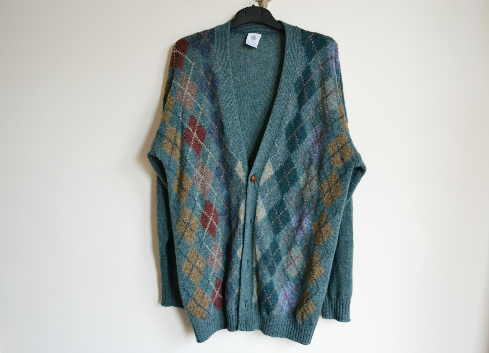 mens vintage cardigan wool charity shop green diamond pattern