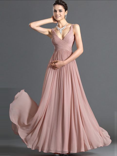 A-line V-neck Chiffon Prom Dresses –Price:£79.99 (68%OFF)