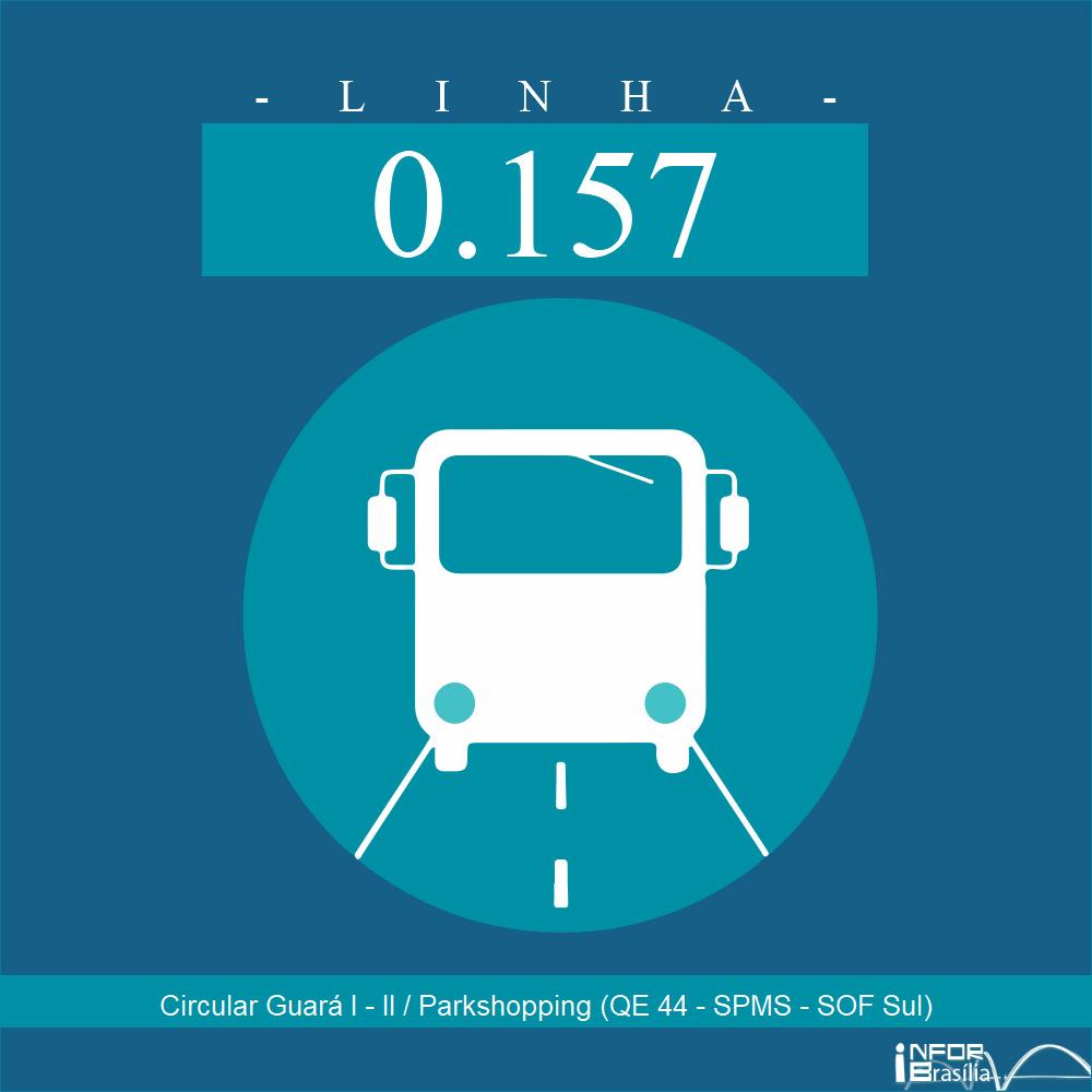 Horário de ônibus e itinerário 0.157 - Circular Guará I - II / Parkshopping (QE 44 - SPMS - SOF Sul)
