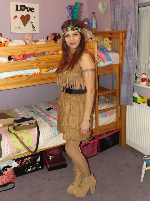 Person dressed up as Pocahontas