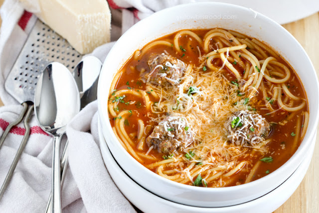 Spaghetti and Meatball Soup by Yellow Bliss Road