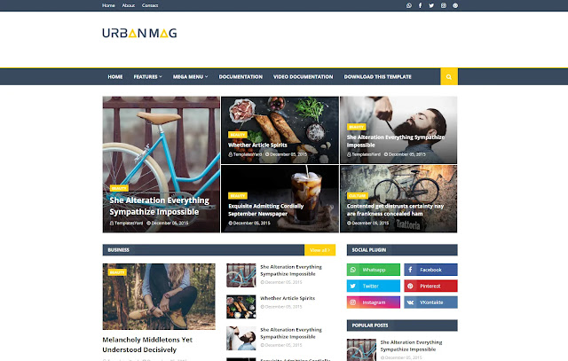 Urban Mag Responsive News Magazine Blogger Template Theme