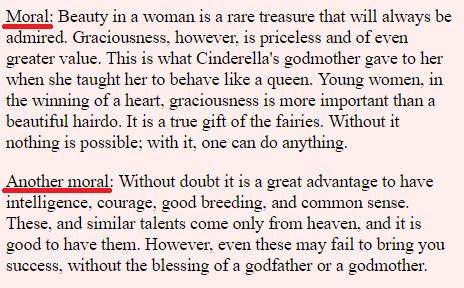 Moral do Conto Cinderela - Charles Perrault