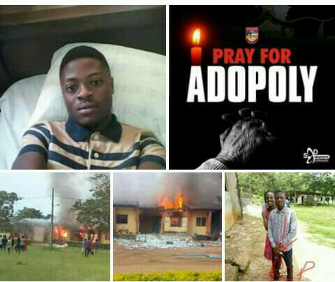 Federal Polytechnic, Ado embarks on indefinite strike over mass protest following the death of a student, health centre burnt.
