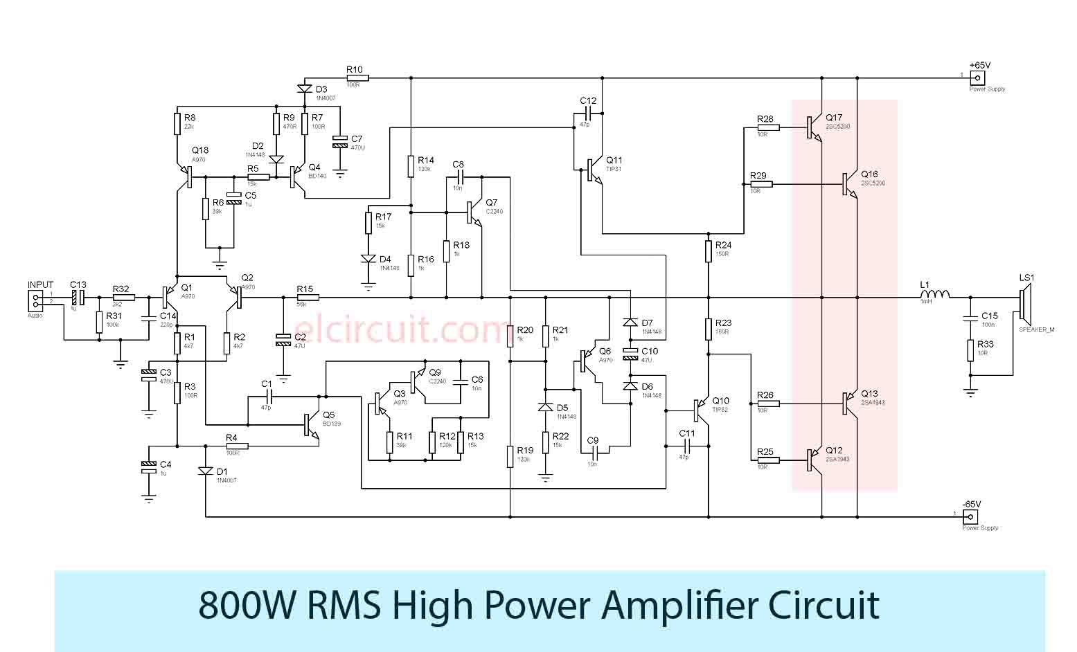 High Power Amplifier Amp Circuit Diagram Wire Data Schema 1000w Electronic Circuits 800w Rh Elcircuit Com Pioneer Diagrams