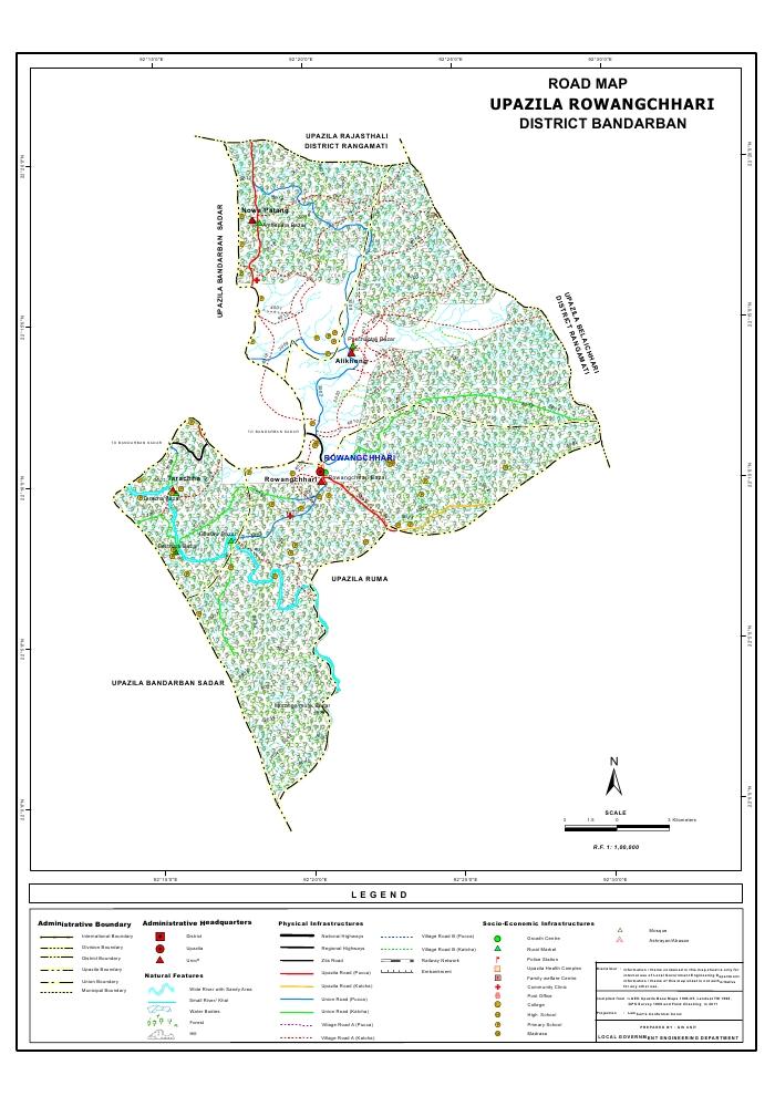 Rowangchari Upazila Road Map Bandarban District Bangladesh