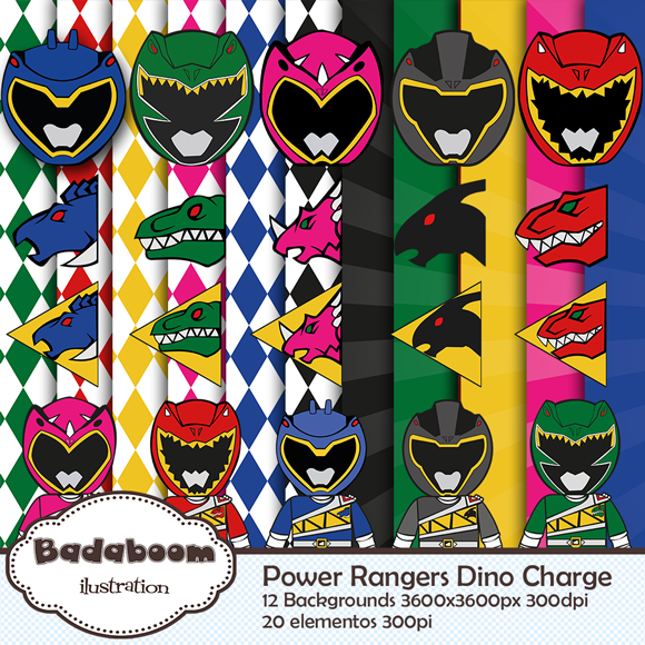 kit digital, arte digital, scrapbook, papers, background, Power Rangers, Dino Charge, elementos,