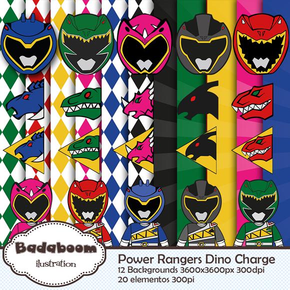 kit digital, arte digital, scrapbook, papers, background, Power Rangers, Dino Charge, elementos,
