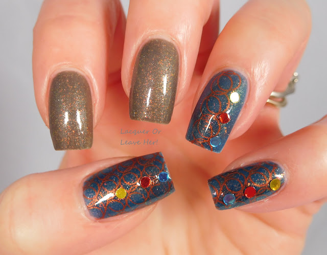 UberChic Beauty 14-02 over The Lady Varnishes Depressed Robot and Hello Ground