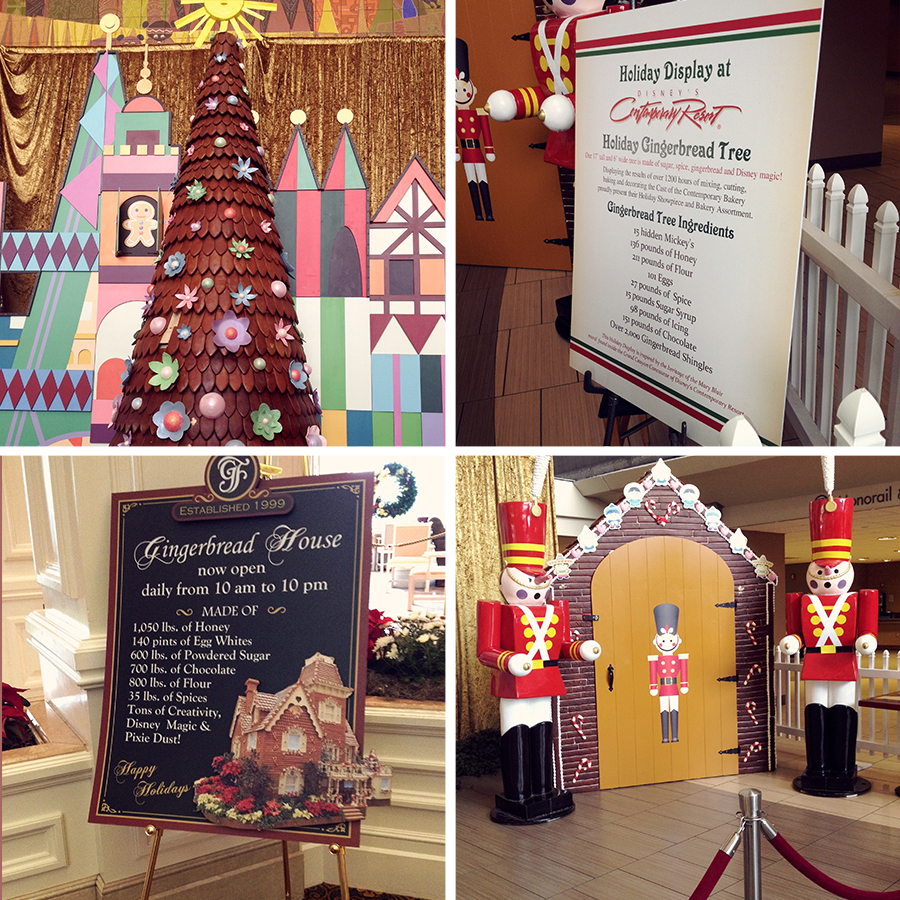 Holiday gingerbread displays at Walt Disney World Resorts