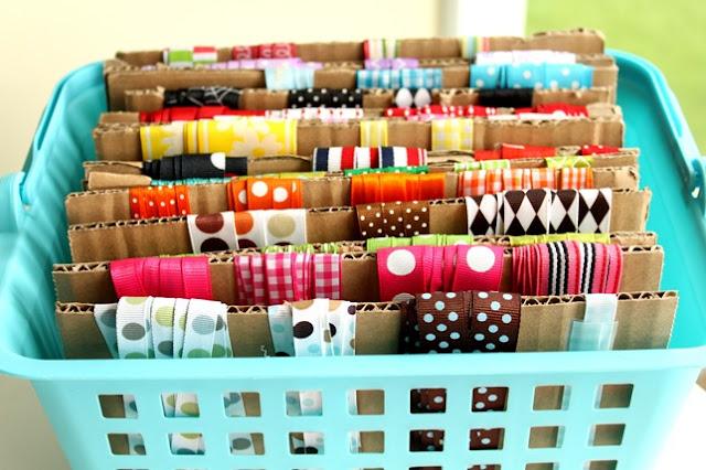 Organize ribbon with cardboard :: OrganizingMadeFun.com