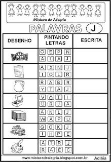 Sequência alfabética alfabetização letra J