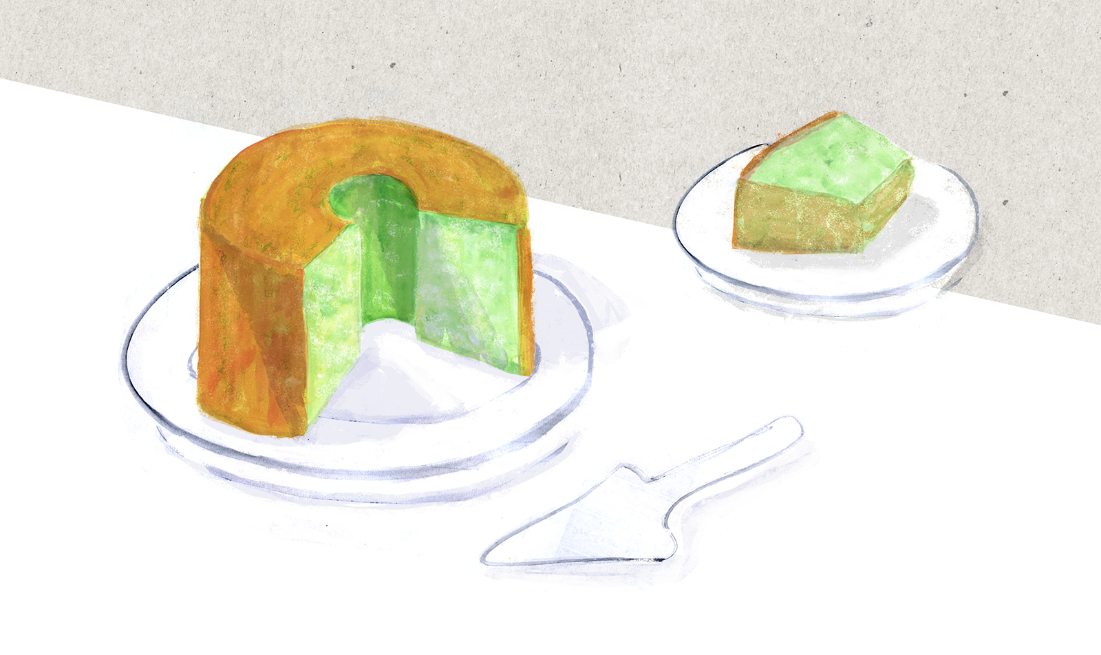Pandan CHiffon cake, Birthday, Lauren Monaco Illustration