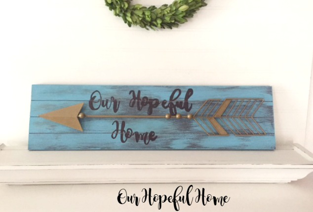 DIY rustic arrow wall art sign