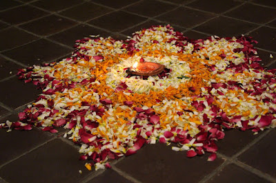 Purely eco-friendly rangoli made with flowers