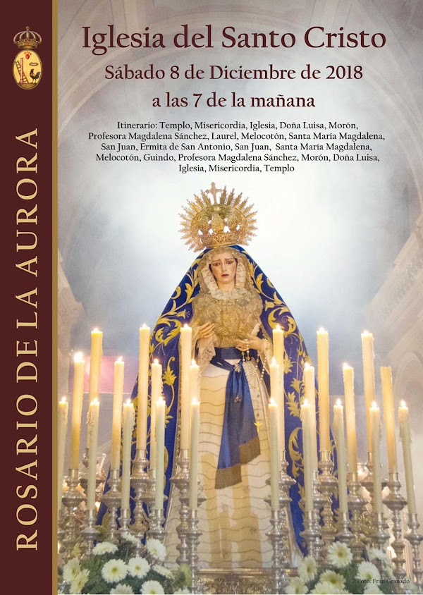 Horario e Itinerario del Rosario de a Aurora de la Hermandad de la Santa Caridad y Misericordia del Arahal