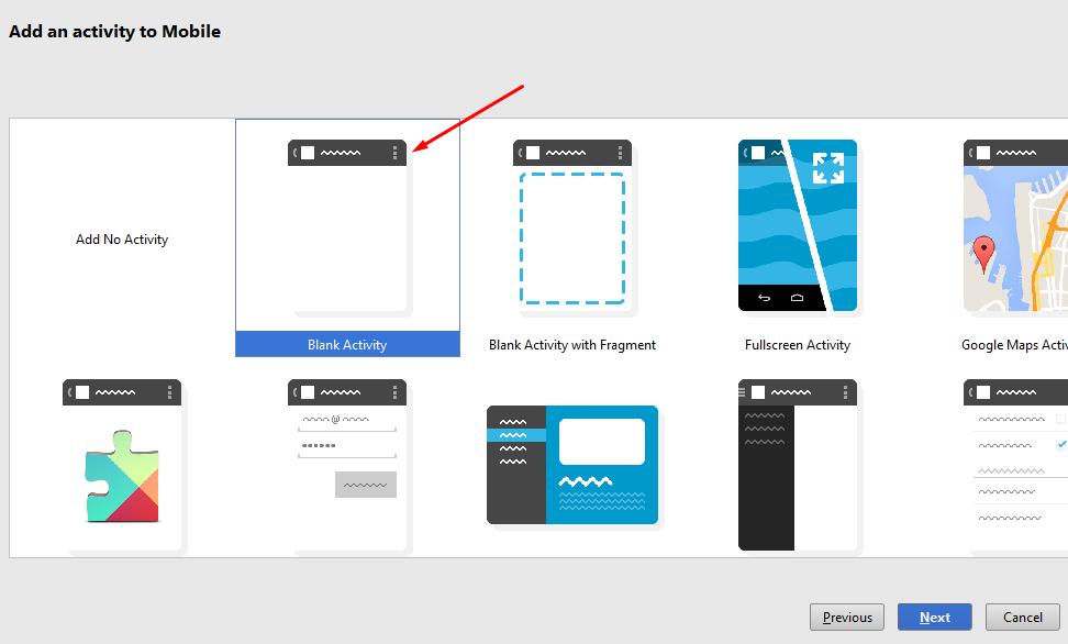 Memilih Activity Project Baru Aplikasi di Android Studio
