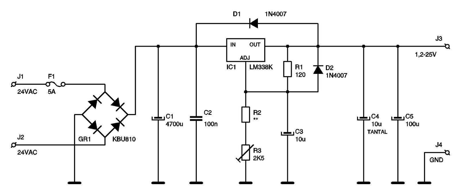 Eletr U00f4nica Free Circuits  Esquema Fonte Vari U00e1vel Com Lm338k Com Diodos De Prote U00e7 U00e3o