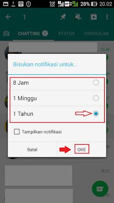 bisukan pemberitahuan grup whatsapp