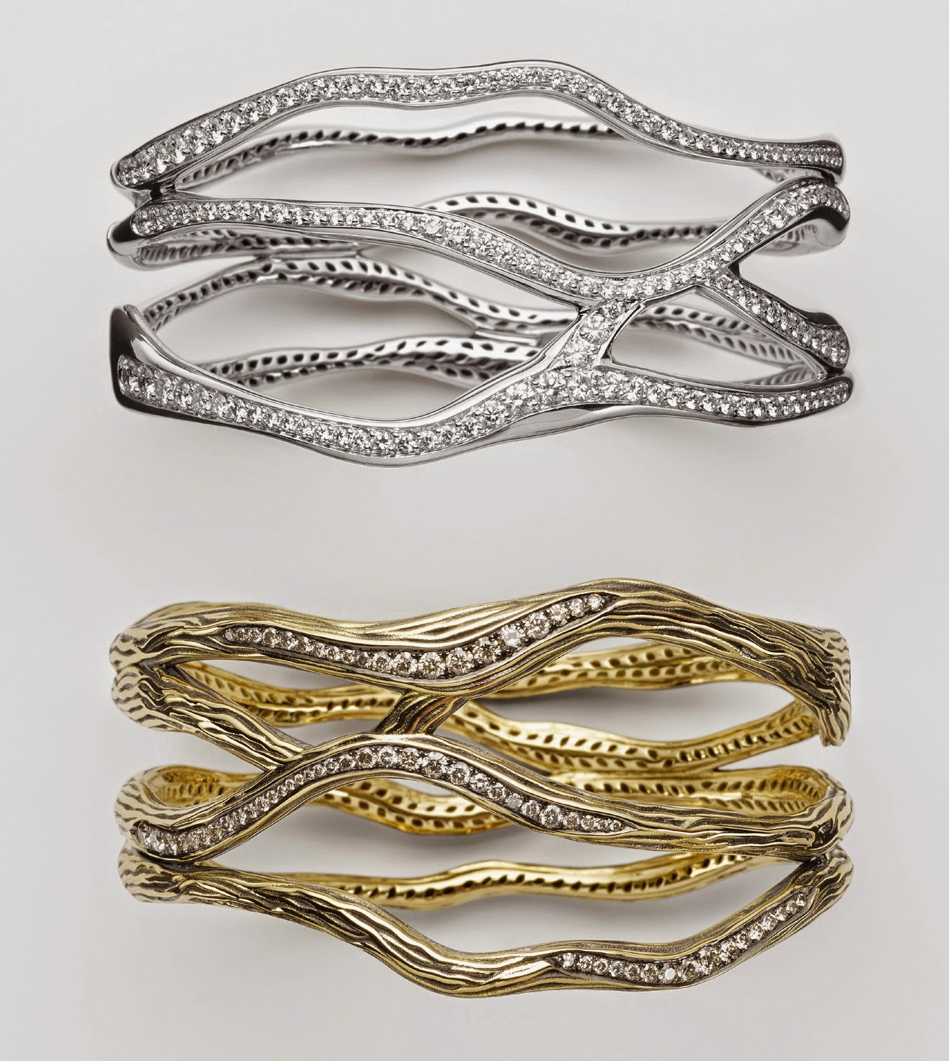 5b6699d349a Antonini Vulcano bracelets in 18k yellow gold, white gold, black rhodium, white  diamonds and champagne diamonds.
