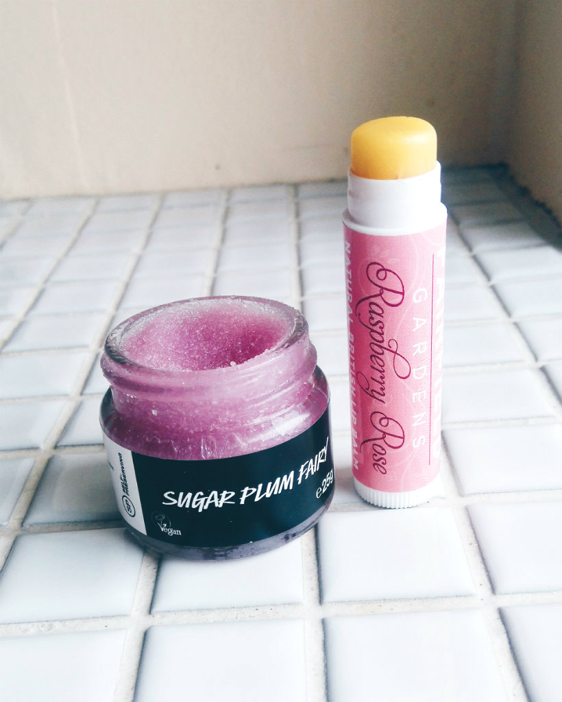 Lush Sugar Plum Fairy Lip Scrub, Fairfield Gardens Raspberry Rose Lip Balm
