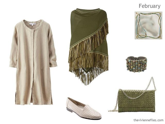 beige dress with accessories