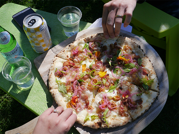 Pear and pancetta market pizza from the wood-fired oven at JoieFarm Winery in Naramata Bench, Okanagan, BC wine country