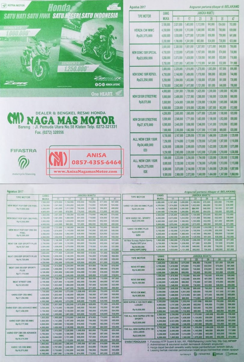 BROSUR KREDIT MOTOR HONDA Agustus 2017 Naga Mas Motor Klaten